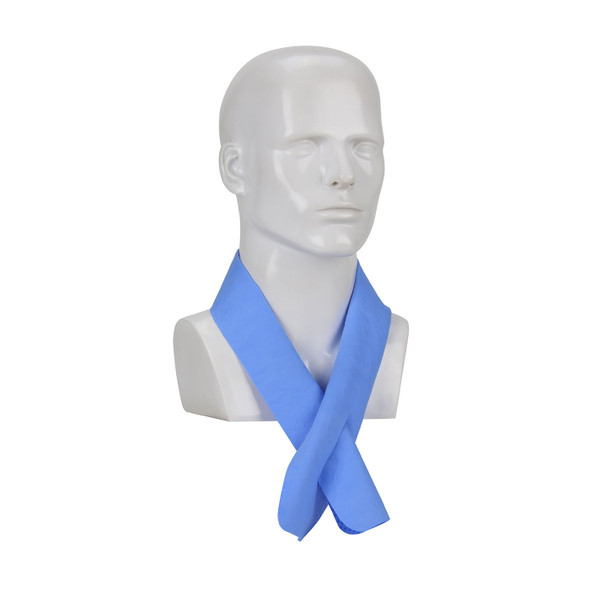 PIP Evaporative Hi Vis Lime Cooling Neck Wrap 393-650-L Blue Version Tied Around Neck