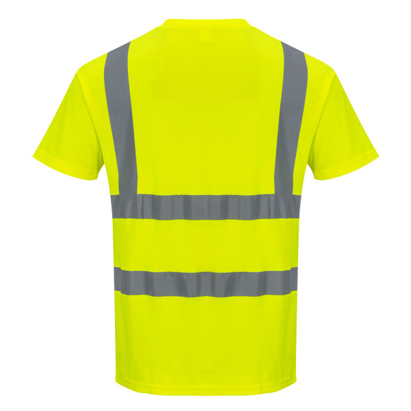 PortWest Class 2 Hi Vis Yellow Cotton Comfort T-Shirt with 35 UPF S170 Back