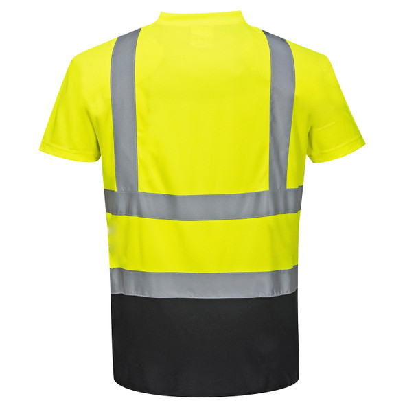 PortWest Class 2 Hi Vis Yellow Moisture Wicking Black Bottom T-Shirt with 50 UPF Protection S378YBR Back