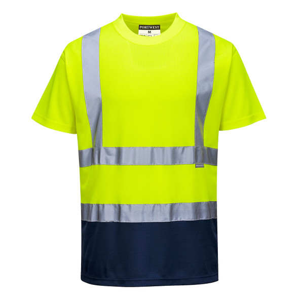 PortWest Class 2 Hi Vis Yellow Moisture Wicking Navy Bottom T-Shirt with 50 UPF Protection S378YNR Front