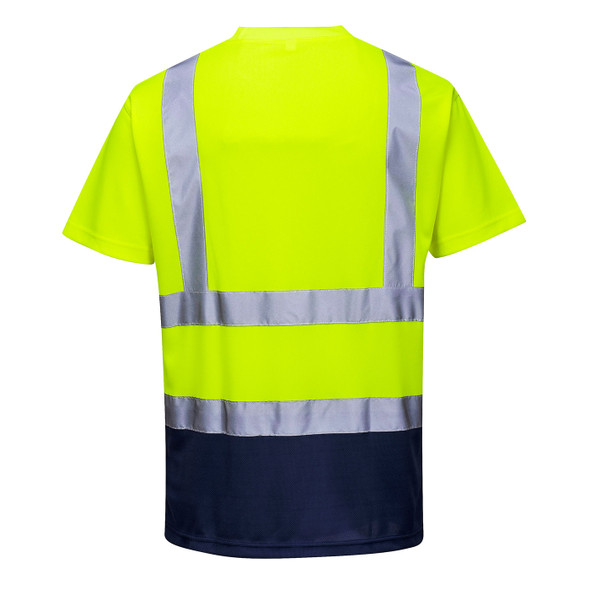 PortWest Class 2 Hi Vis Yellow Moisture Wicking Navy Bottom T-Shirt with 50 UPF Protection S378YNR Back