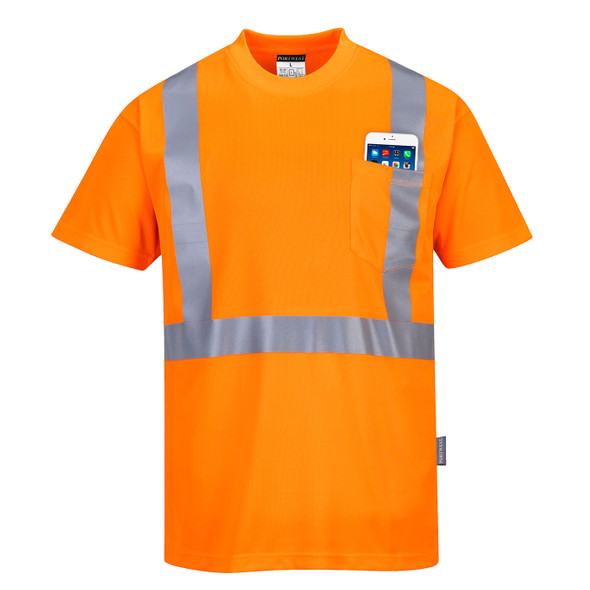 PortWest Class 2 Hi Vis Moisture Wicking T-Shirt with 50 UPF Protection S190 Hi Vis Orange Front