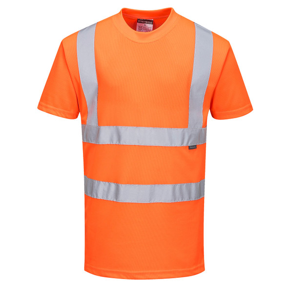 PortWest Class 2 Hi Vis Orange Moisture Wicking T-Shirt with 50 UPF Protections RT23 Front