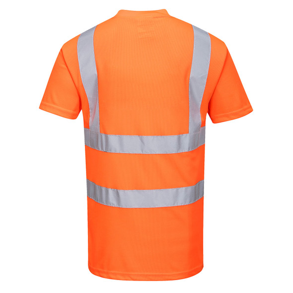 PortWest Class 2 Hi Vis Orange Moisture Wicking T-Shirt with 50 UPF Protections RT23 Back