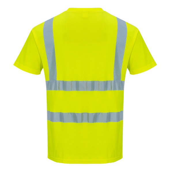 PortWest Class 2 Hi Vis Yellow Moisture Wicking T-Shirt with 50 UPF Protection S478 Back