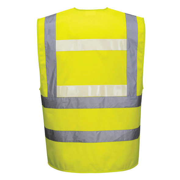 PortWest Class 2 Hi Vis Yellow Glowtex Safety Vest G470 Yellow Back