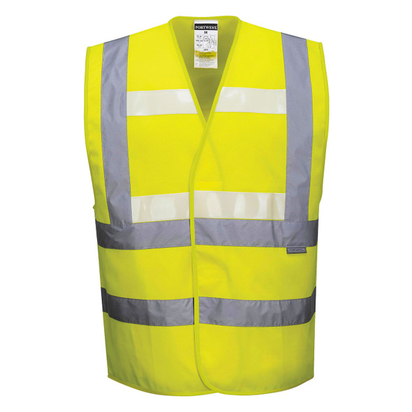 PortWest Class 2 Hi Vis Yellow Glowtex Safety Vest G470 Yellow Front
