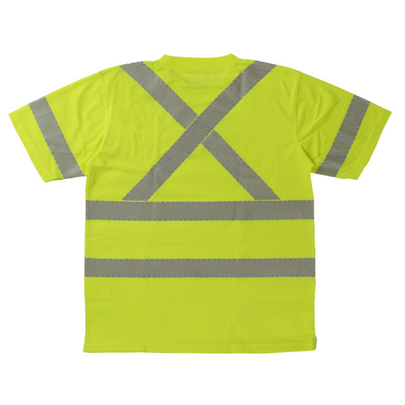 Work King Class 3 Hi Vis X-Back T-Shirt with Pocket and Segmented Tape ST071 Fluorescent Green Back