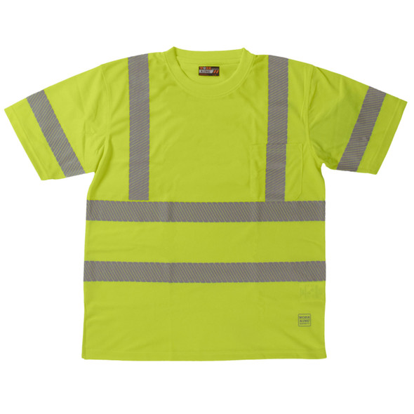 Work King Class 3 Hi Vis X-Back T-Shirt with Pocket and Segmented Tape ST071 Fluorescent Green Front