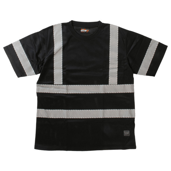 Work King Class 1 X-Back Black T-Shirt with Pocket and Segmented Tape ST071-BLK Front