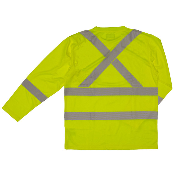 Work King Class 3 Hi Vis X-Back Long Sleeve T-Shirt with Pocket and Segmented Tape ST081 Fluorescent Green Back