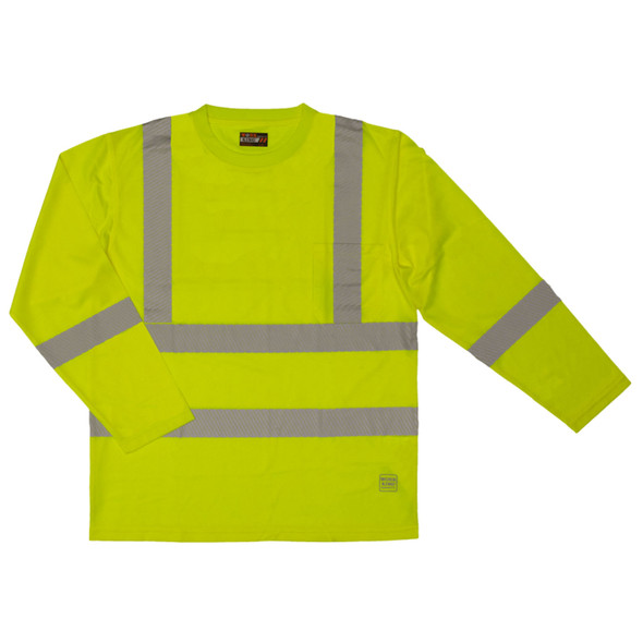 Work King Class 3 Hi Vis X-Back Long Sleeve T-Shirt with Pocket and Segmented Tape ST081 Fluorescent Green Front