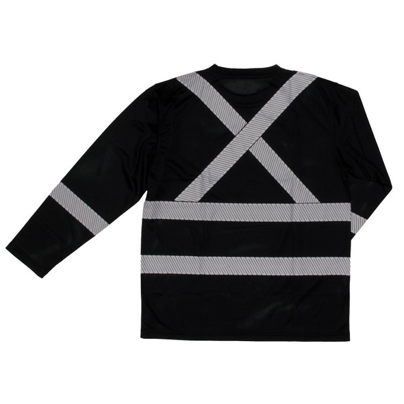 Work King Class 1 X-Back Black Long Sleeve T-Shirt with Pocket and Segmented Tape ST081-BLK Back