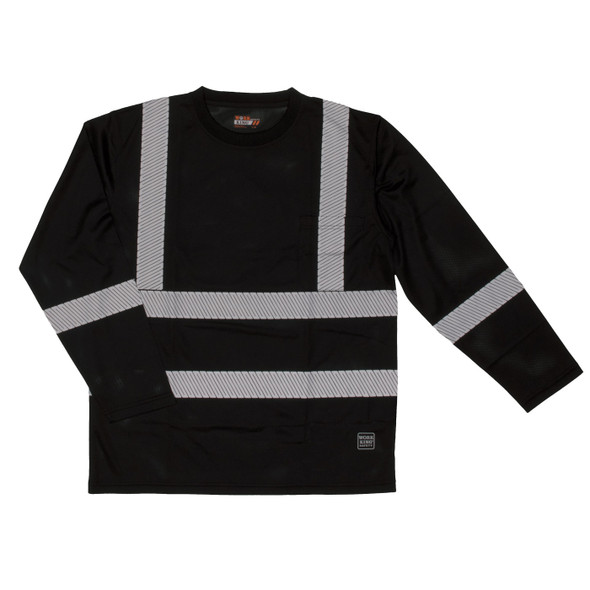 Work King Class 1 X-Back Black Long Sleeve T-Shirt with Pocket and Segmented Tape ST081-BLK Front