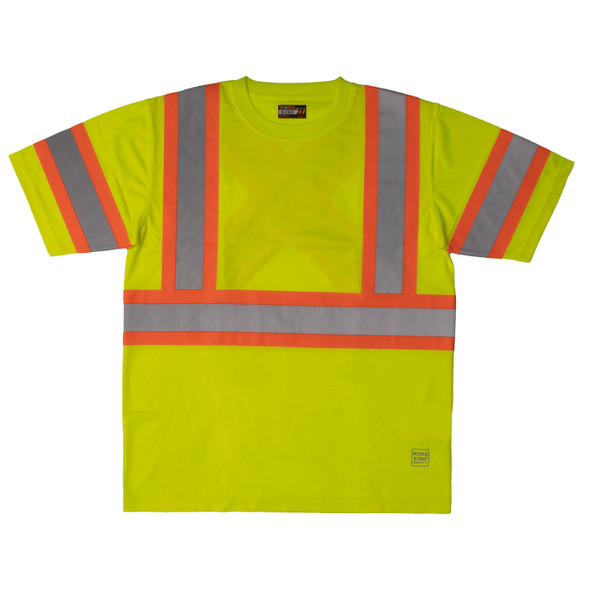 Work King Class 3 Hi Vis X-Back Two-Tone Moisture Wicking T-Shirt ST09 Fluorescent Green Front