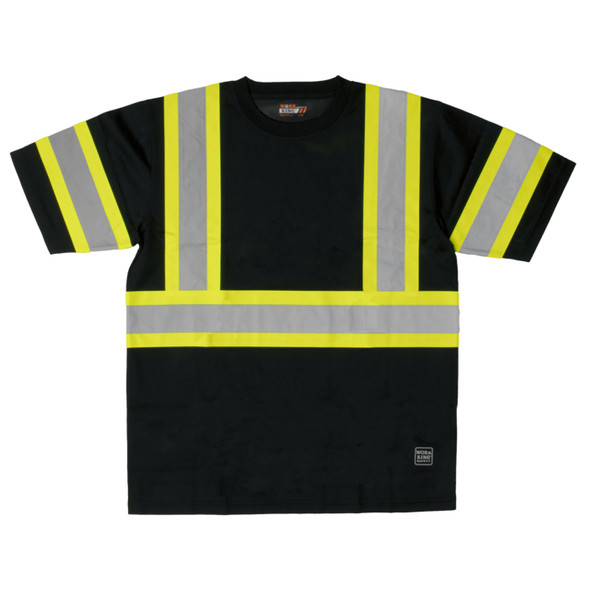 Work King Class 1 X-Back Two-Tone Black Moisture Wicking T-Shirt ST091-BLK Front