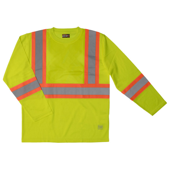Work King Class 3 Hi Vis X-Back Two-Tone Moisture Wicking Long Sleeve T-Shirt ST10