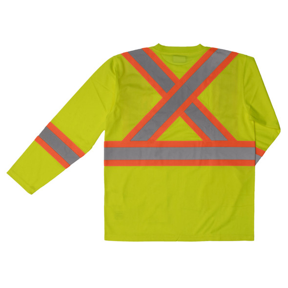 Work King Class 3 Hi Vis Two-Tone X-Back Moisture Wicking Long Sleeve T-Shirt ST10