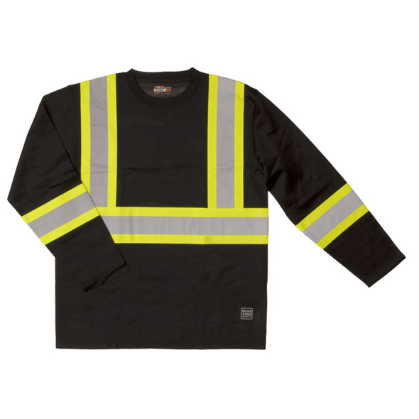 Work King Class 1 X-Back Two-Tone Moisture Wicking Long Sleeve T-Shirt ST10-BLK Front