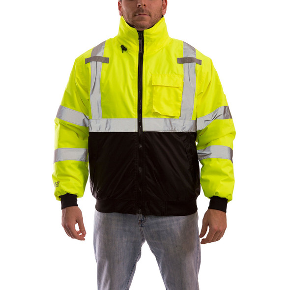 Tingley Class 3 Hi Vis Yellow Black Bottom Bomber Jacket J26002 Front