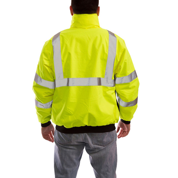 Tingley Class 3 Hi Vis Yellow Black Bottom Bomber Jacket J26002 Back of Jacket