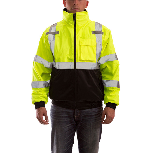 Tingley Class 3 Hi Vis Yellow Black Bottom 3-in-1 Bomber Jacket J26172 Front of Jacket