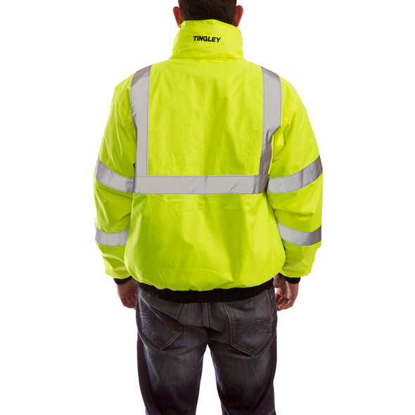 Tingley Class 3 Hi Vis Yellow Black Bottom 3-in-1 Bomber Jacket J26172 Back of Jacket