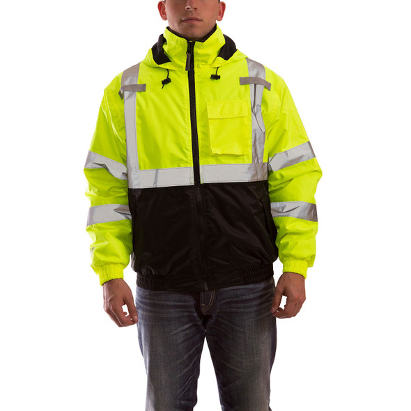 Tingley Class 3 Hi Vis Yellow Black Bottom Bomber II Jacket J26112 Front of Jacket