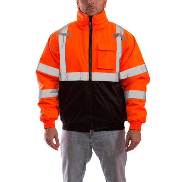 Tingley Class 3 Hi Vis Orange Black Bottom Bomber II Jacket J26119 Front of the Jacket