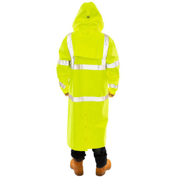 Tingley Class 3 Hi Vis Yellow Icon Raincoat C24122 Back of the Jacket with the Hood Up