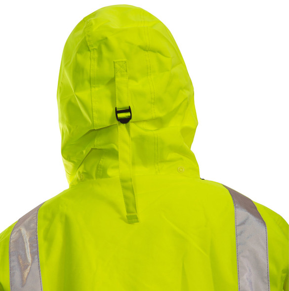 Tingley Class 3 Hi Vis Yellow Black Bottom Icon Jacket J24122 Back of Hood