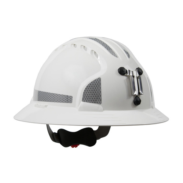 PIP Made in USA Full Brim Mining Hard Hat with Reflective 6 PT Ratchet 280-EV6161MCR2 - Box of 10 White