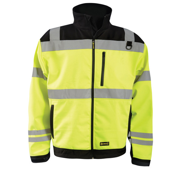 Occunomix Class 3 Hi Vis Yellow Soft Shell Safety Jacket with Black Trim LUX-M6JKT Front