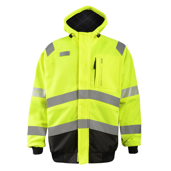 Occunomix Class 3 Hi Vis Yellow DOR Crossover Jacket SP-CROSSJKT with Collar Up