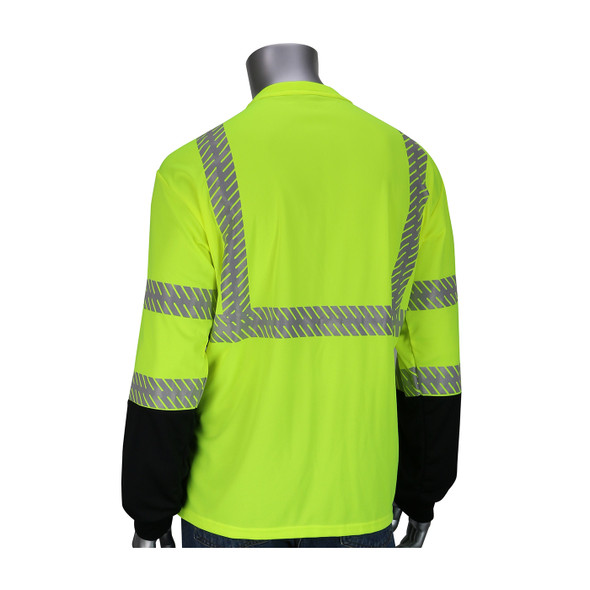PIP Class 3 Hi Vis Black Bottom Insect Repellent Long Sleeve 50+ UPF ProtectionT-Shirt  313-1375B