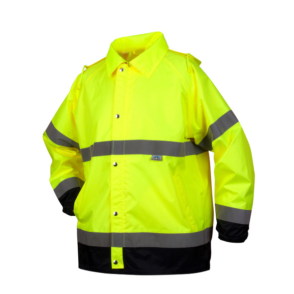Pyramex Class 3 Hi Vis Lime Black Bottom Trim Rain Jacket RRWJ3110 Front