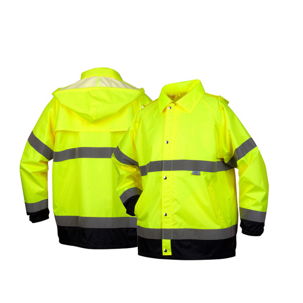 Pyramex Class 3 Hi Vis Lime Black Bottom Trim Rain Jacket RRWJ3110 Front/Back