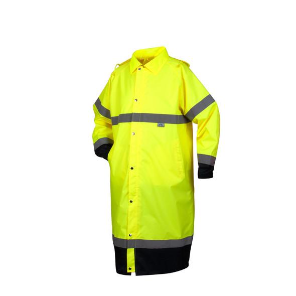 Pyramex Class 3 Hi Vis Lime Black Bottom Trim Raincoat RRWC3110 Front
