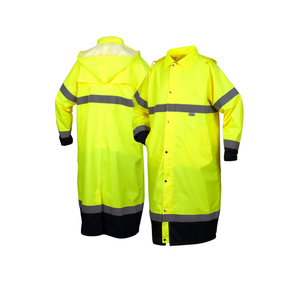 Pyramex Class 3 Hi Vis Lime Black Bottom Trim Raincoat RRWC3110 Front/Back