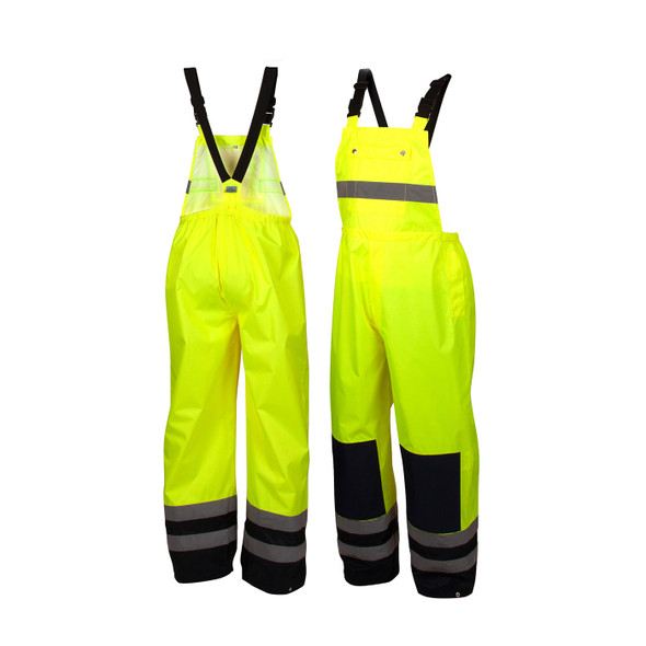 Pyramex Class E Hi Vis Lime Black Bottom Trim Rain Bib RRWB3110 Front/Back