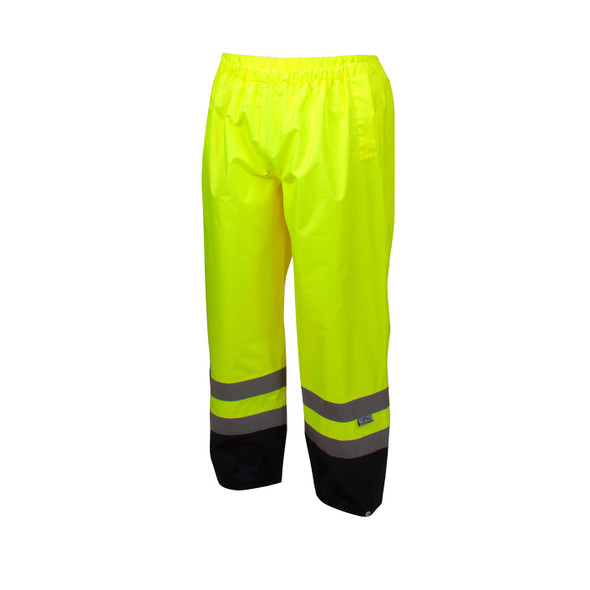 Pyramex Class E Hi Vis Lime Black Bottom Trim Rain Pants RRWP3110 Front