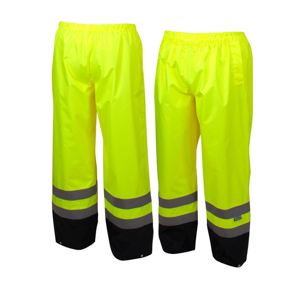 Pyramex Class E Hi Vis Lime Black Bottom Trim Rain Pants RRWP3110 Front/Back