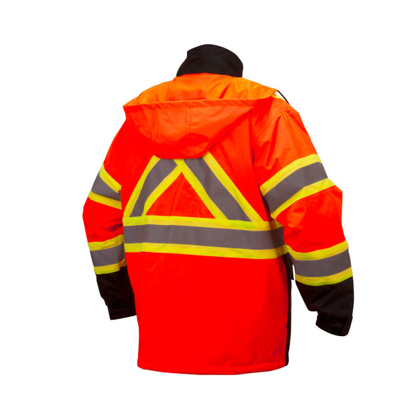 Pyramex Class 3 Hi Vis Orange Two-Tone X-Back Black Bottom Parka RCP3220 Back