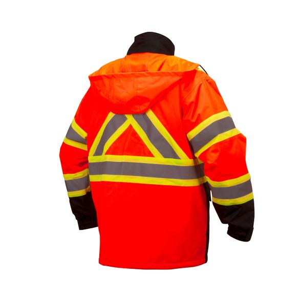Pyramex Class 3 Hi Vis Orange Two-Tone X-Back Black Bottom Parka RCP3220 Back