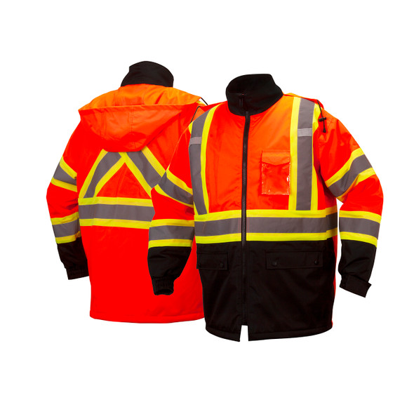 Pyramex Class 3 Hi Vis Orange Two-Tone X-Back Black Bottom Parka RCP3220 Front/Back