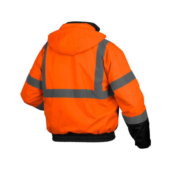 Pyramex Class 3 Hi Vis Orange 2-in-1 Black Bottom Bomber Jacket with Removable Liner RJ3120 Back