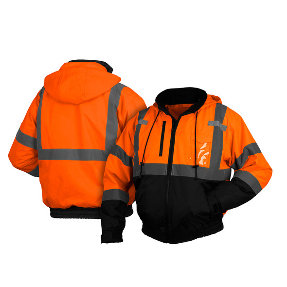 Pyramex Class 3 Hi Vis Orange 2-in-1 Black Bottom Bomber Jacket with Removable Liner RJ3120 Front/Back
