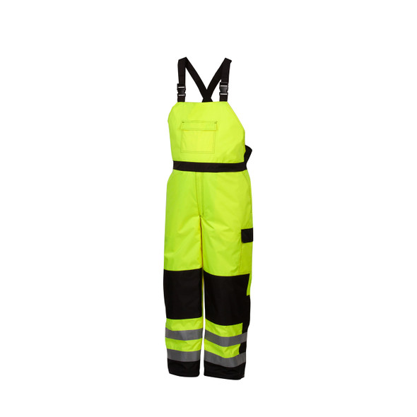 Pyramex Class E Hi Vis Lime Black Bottom Trim Winter Insulated Bib RWB4610 Front