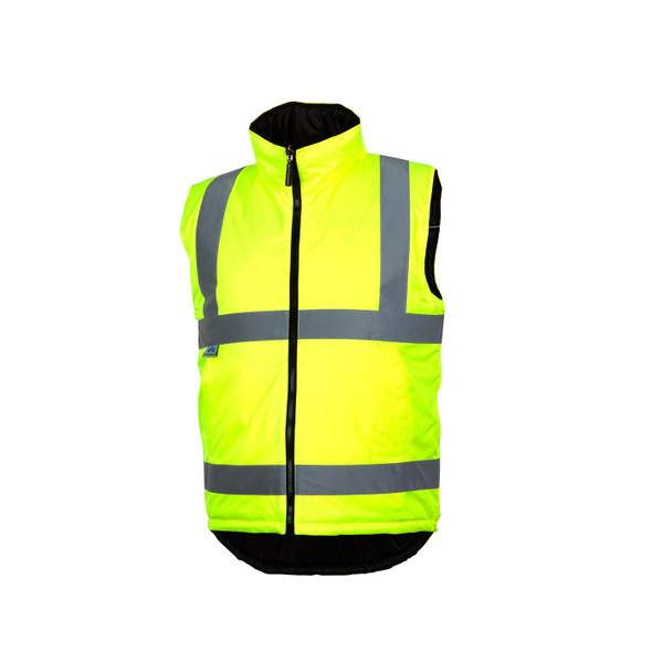 Pyramex Class 2 Hi Vis Lime Quilted Reversible Safety Vest RWVZ4510 Front