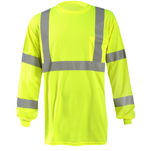 Occunomix Class 3 Hi Vis X-Back Moisture Wicking Long Sleeve T-Shirt with Pocket LUX-LSTP3BX Yellow Front